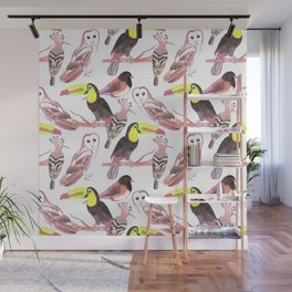 Large birds watercolor toucans, juncos, hoopoe and barn owl Wall Mural