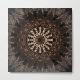Bohemian Dark Brown Mandala Metal Print