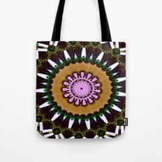 Lovely Healing Mandala  in Brilliant Colors: Black, Brown, Green, Beige, and Pink Tote Bag