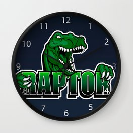 cartoon raptor Wall Clock
