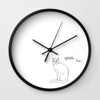 caleb troy Wall Clocks featuring No Exercise Cat by Caleb Croy by UCO Design