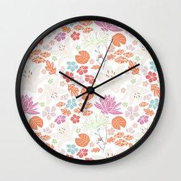 Fresh orange Japanese pond flowers Wall Clock