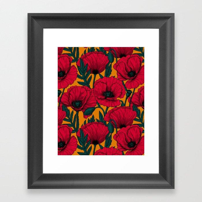 Red poppy garden    Gerahmter Kunstdruck
