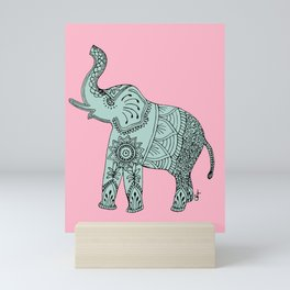 Elephant doodle in mint and pink. Mini Art Print