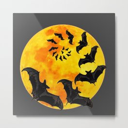 HALLOWEEN BAT INFESTED HAUNTED MOON ART DESIGN Metal Print