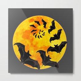 HALLOWEEN BAT INFESTED HAUNTED MOON ART DESIGN Metal Print