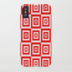 Abstract geometric pattern - red and white. Slim Case iPhone X
