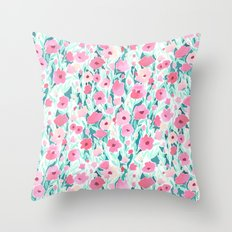 Flower Field Pink Mint Throw Pillow