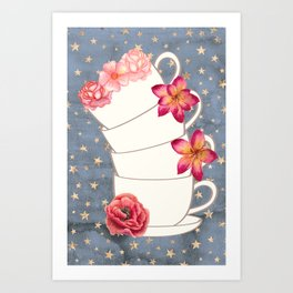 Floral Coffee Cups Art Print