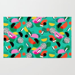 Flange - memphis inspired pop art retro throwback 1980s neon style art print decor hipster socal Rug