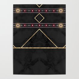 Golden Sun Mandala Ruby Flowr over BlackMarble Poster