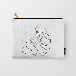 Woman Reading Line Drawing - Reading Rita Carry-All Pouch