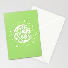 i love you to the moon and back - green Stationery Cards