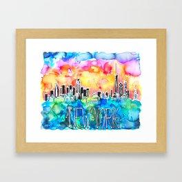 New York / watercolor mixed media bright city skyline modern skyscraper Framed Art Print