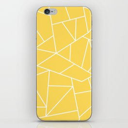 White Mosaic Lines On Mustard Yellow iPhone Skin