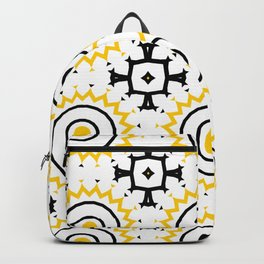 The Sun Moroccan Tiles Pattern Yellow Backpack