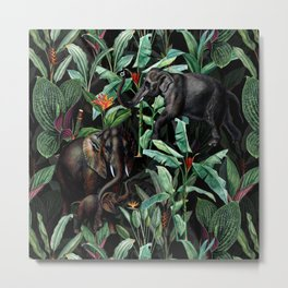 Vintage & Shabby Chic - Tropical Jungle and Elephants Night Metal Print