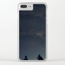 Starry night over the trees Clear iPhone Case