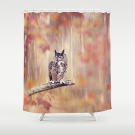 Great Horned Owl perched in the autumn forest Shower Curtain