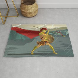 epic spartan soldier in the rain Rug
