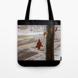 Frozen Red Leaf Tote Bag