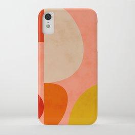 geometry shape mid century organic blush curry teal iPhone Case