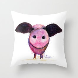 Nosey Pig ' Pigs CAN Fly ' by Shirley MacArthur Throw Pillow