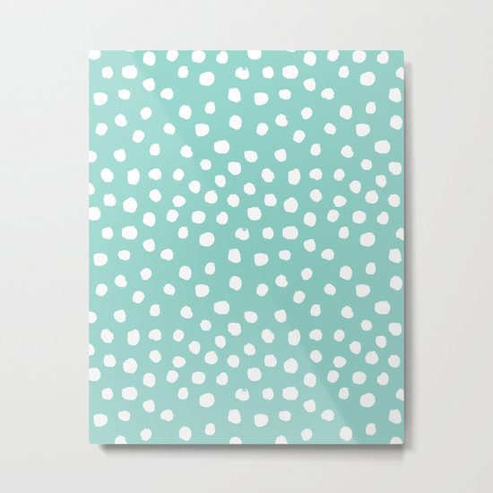 Minty mini painted dots polka dots mint pastel dotty trendy gender neutral must have dorm college  Metal Print
