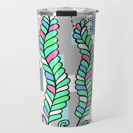Vines Swaying in the Breeze with Pastel Blocks Travel Mug