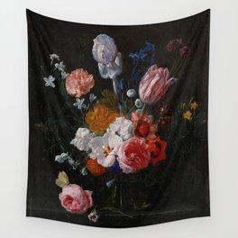 Nicolaes van Veerendael - A Bouquet of Flowers in a Crystal Vase (1662) Wall Tapestry