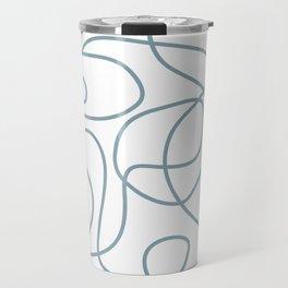 Dusty Blue Doodled Lines Pattern on White Travel Mug