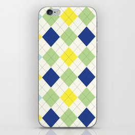 Argyle Plaid in Blue, Green and Yellow iPhone Skin