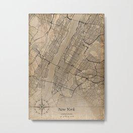 new york city map vintage Metal Print