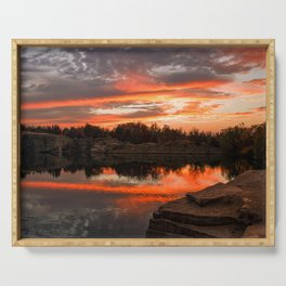Sunset at Halibut Point Quarry Serving Tray