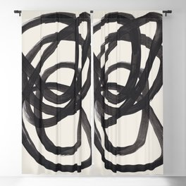 Mid Century Modern Minimalist Abstract Art Brush Strokes Black & White Ink Art Spiral Circles Blackout Curtain