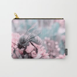 Honey Bee on Pale Pink Flowers Carry-All Pouch