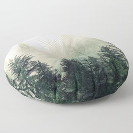 Foggy Pine Trees Floor Pillow