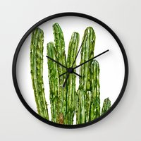 cacti Wall Clocks featuring CACTI by Jennifer Lambein