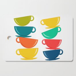A Teetering Tower Of Colorful Tea Cups Cutting Board