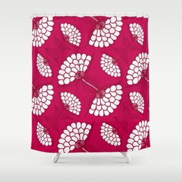 African Floral Motif on Magenta Shower Curtain