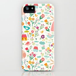 Modern girly pink green hand painted Easter rabbit floral iPhone Case