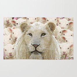 Lambs led by a lion Rug