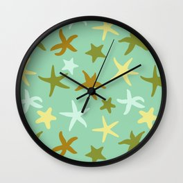Starfish shapes repeated pattern green Wall Clock
