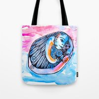 introvert Tote Bags featuring The Introvert by Dawn Patel Art