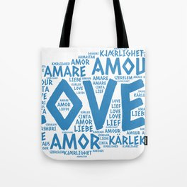 Cloud illustrated with Love Word of different languages Tote Bag