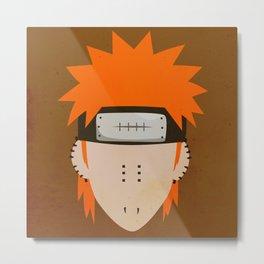 Pain Simplistic Face Metal Print