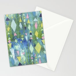 Geometric Slide in Cool Blue Stationery Cards