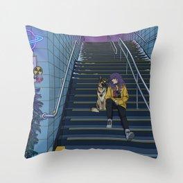 Neon Subway Throw Pillow