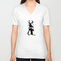 schnauzer V-neck T-shirts featuring Miniature Schnauzer by illustrious state