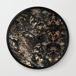 Gold Vein Black Marble Design Wall Clock
